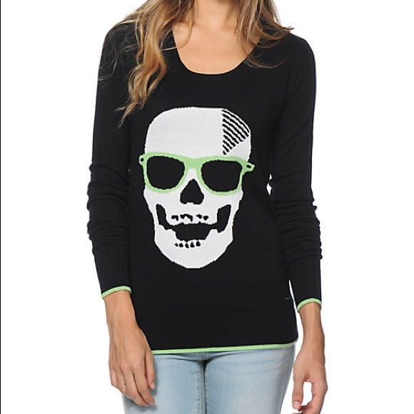 Volcom Sweaters - Volcom Skull Stretch Sweater Size Small